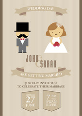 Wedding invitation card illustration. Hipster style.