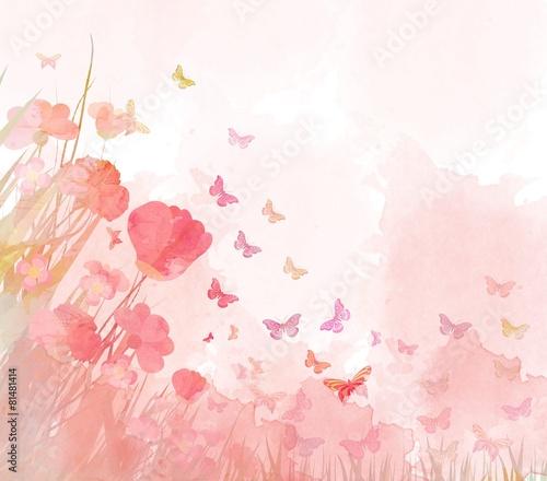 watercolor butterflies background - 81481414
