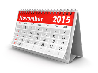 Calendar -  November 2015 (clipping path included)