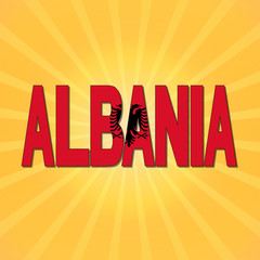 Albania flag text with sunburst illustration