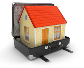 House in suitcase (clipping path included)