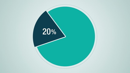 Circle diagram, Pie chart indicated 20 percent