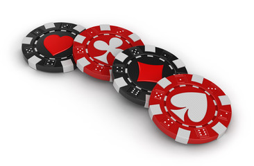 chips of casino (clipping path included)