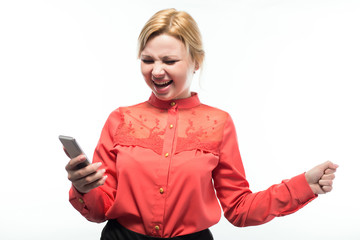 business woman holding a phone in their hands, shouting