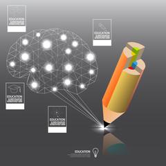 colorful pencil write idea concept with brain