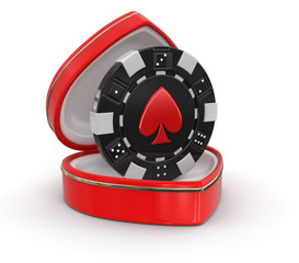 chip of casino in the heart box (clipping path included)
