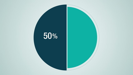 Circle diagram, Pie chart indicated 50 percent