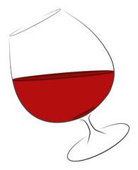 Glas Rotwein auf Kippe