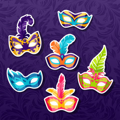 Set of celebration festival carnival masks stickers
