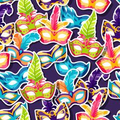 Celebration festive pattern with carnival masks stickers