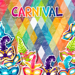 Celebration festive background with carnival masks stickers