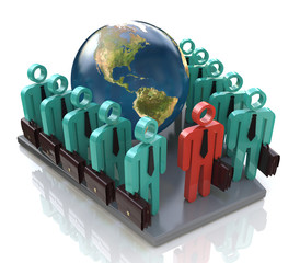 Group of global business people goes forward and Leader