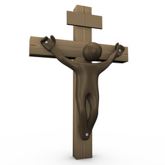 3d illustration with crucified black cartoon character.