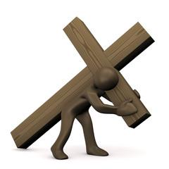 Cartoon Männchen trägt sein Kreuz, 3D rendering