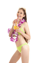 Portrait of happy smiling Hawaiian woman drinking orange coctail