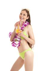 Portrait of happy smiling Hawaiian woman drinking orange coctail