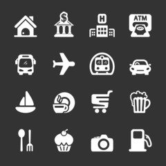 travel map location icon set, white version, vector eps10