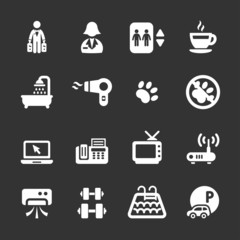 hotel service icon set 7, white version, vector eps10