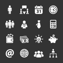 business and corporate icon set, white version, vector eps10