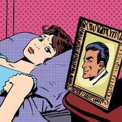 woman in bed photo men wife husband pop art comics retro style H