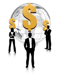 business man with global dollar on white background