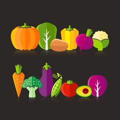 Organic farm vegetables illustration on black background