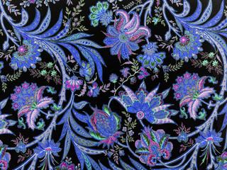elegant floral blue pattern on black