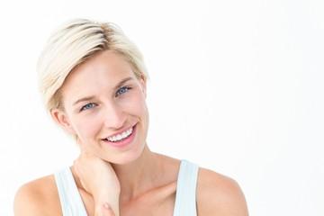 Gorgeous blonde smiling ta camera