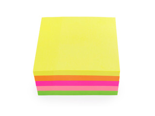 colorful post-it notes isolated on white