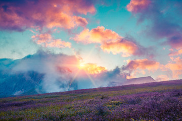 Colorful summer cloudscape in the foggy Val di Fassa valley