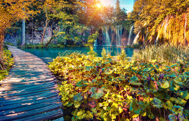 Colorful autumn sunrise in the Plitvice Lakes National Park