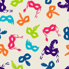 Celebration festive seamless pattern with carnival masks