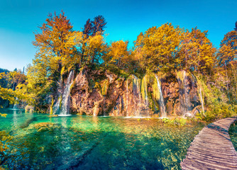 Colorful summer morning in the Plitvice Lakes National Park.