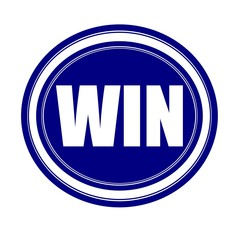 Win white stamp text on blue