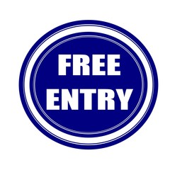 Free entry white stamp text on blueblack