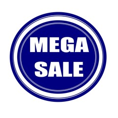 Mega sale white stamp text on blueblack