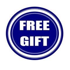 Free gift white stamp text on blueblack