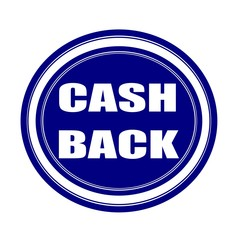 Cash back white stamp text on blueblack