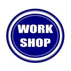 Workshop white stamp text on blueblack