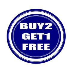 Buy 2 get 1 free white stamp text on blueblack