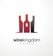 Wine bottle symbol with glasses in negative space - 81488846
