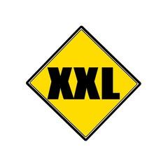 XXL black stamp text on yellow