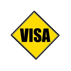 VISA black stamp text on yellow