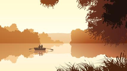 Vector couple on lake against orange sunset.