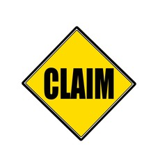 CLAIM black stamp text on yellow