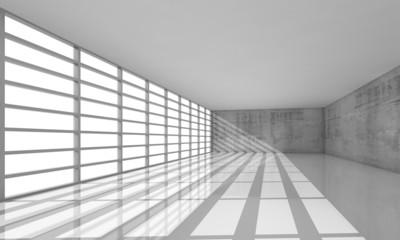 3d empty white open space interior with bright windows