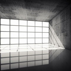 3d concrete interior with bright windows in modern frames