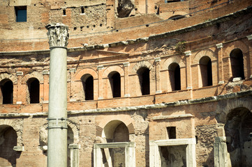 Trajan's forum in Rome, front view of building and column
