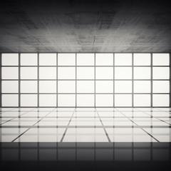 Concrete interior with bright windows in modern frames
