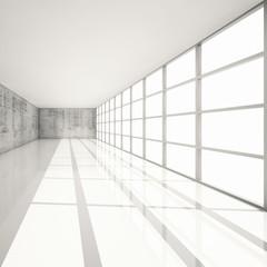 3d white interior with bright windows and concrete walls